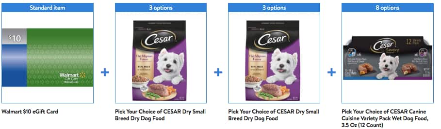 Walmart has CESAR Dry and Wet Dog Food Bundle with Bonus $10 eGift Card for $48.90-$51.15