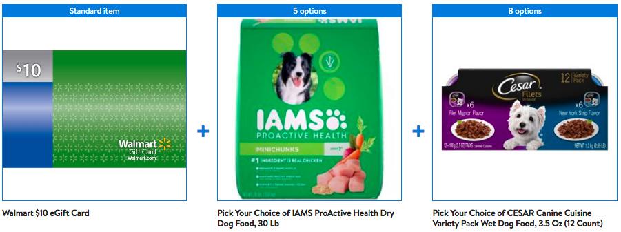 Walmart has Iams Dry and Cesar Wet Dog Food Bundle with Bonus $10 eGift Card for $38.32
