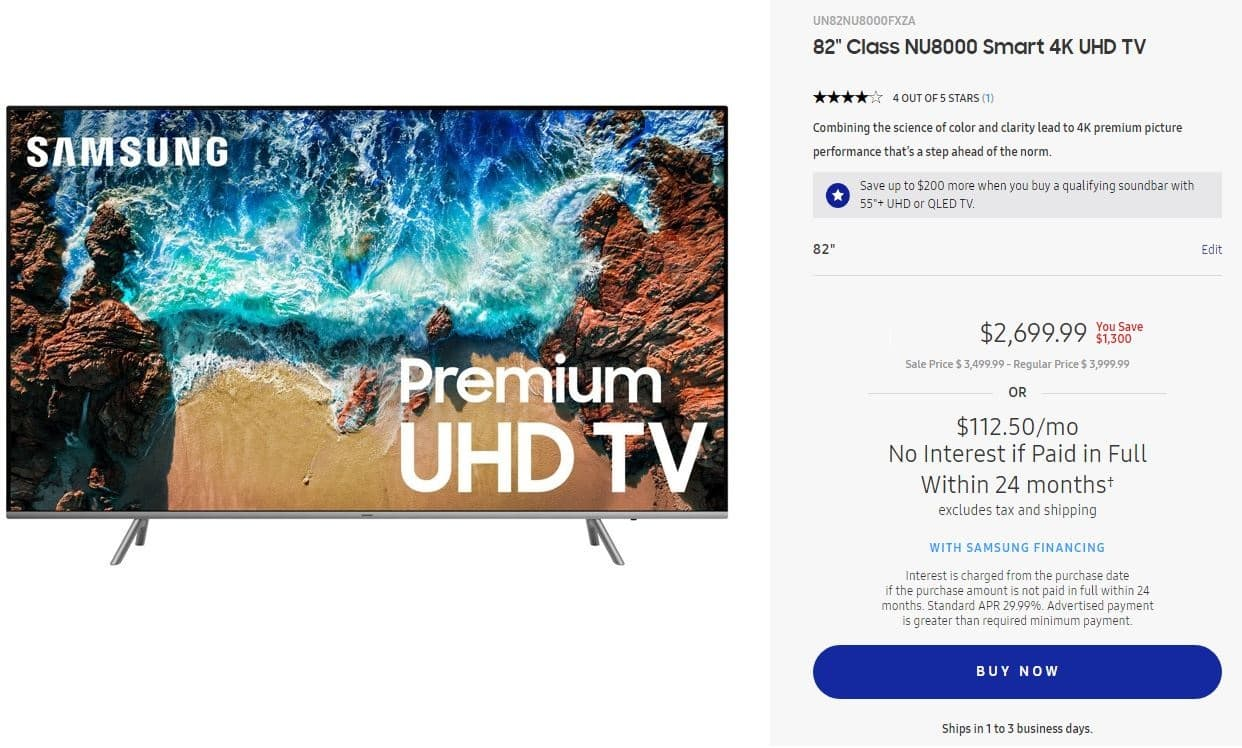 "Samsung 2018 NU8000 82"" Smart 4K UHD TV  UN82NU8000FXZA with corporate discount $2699.99 + tax - $75 from Chase"