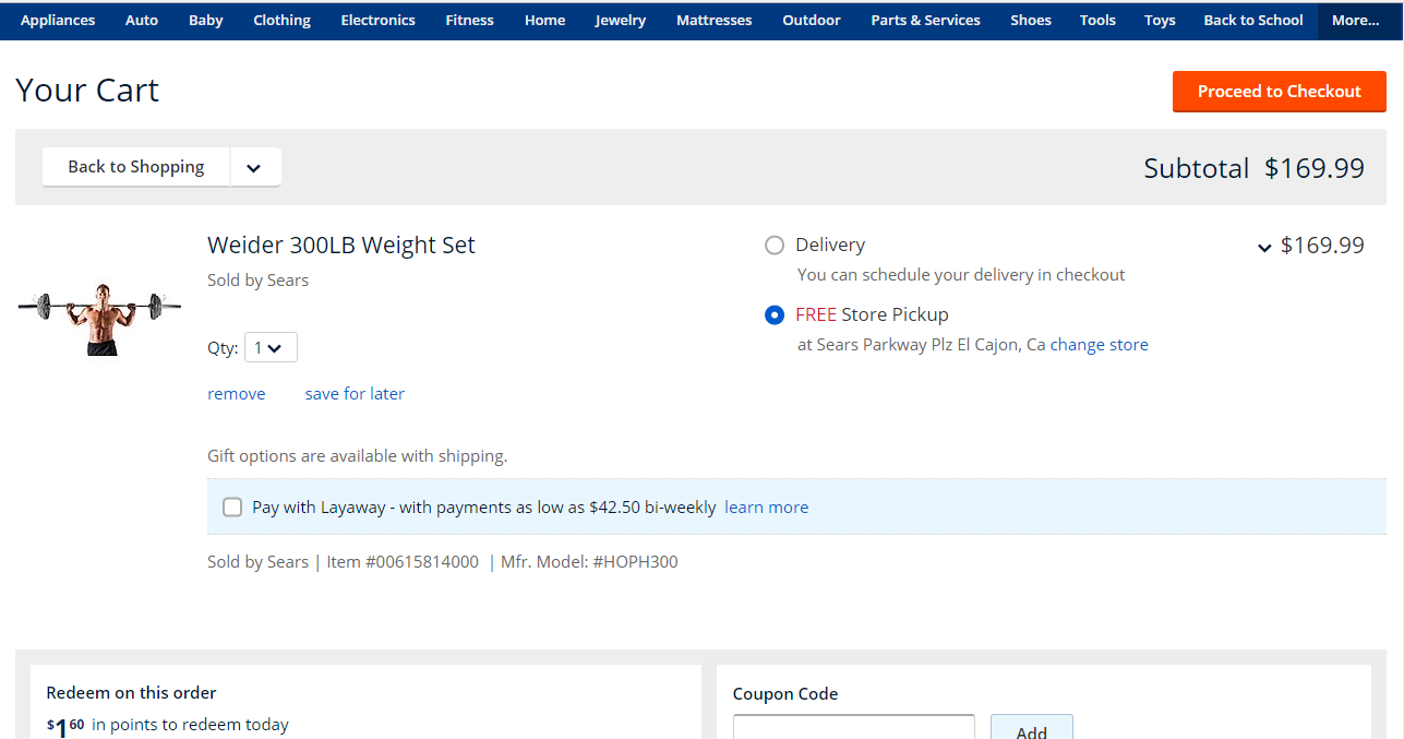 Weider 300LB Weight Set $170 AC, store p/u, at Sears