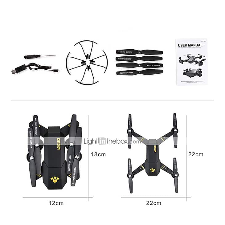 RC Quadcopter Drone With 720P HD FPV Camera VISUO XS809W 4ch 6 Axis 2.4G - $30