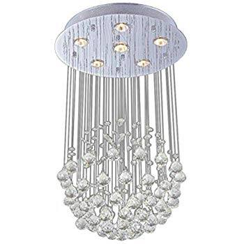Lightess Modern 6-Light Chrome Flush Mount Crystal Raindrop Chandelier $71.49 + FS @Amazon