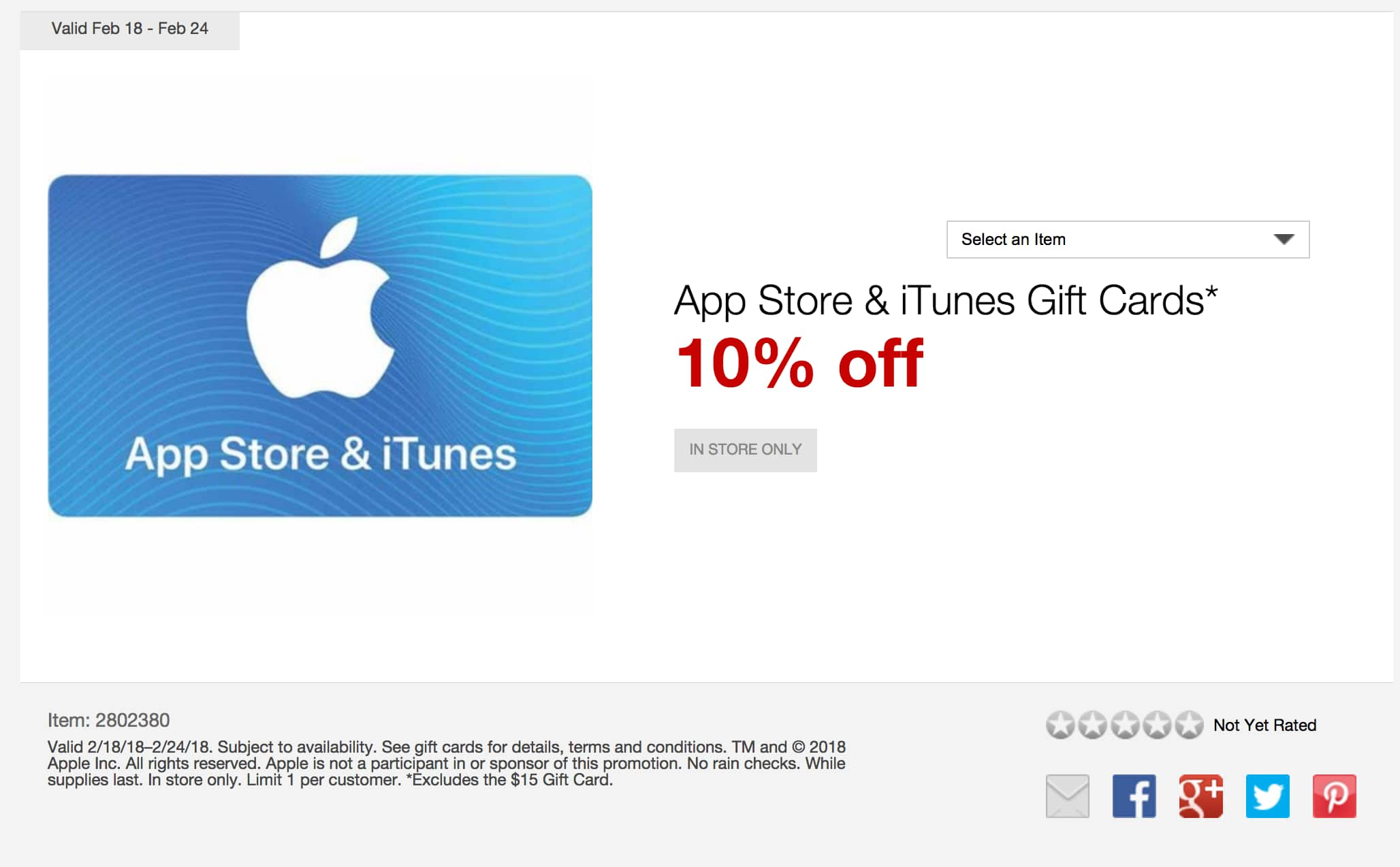 10% off iTunes gift cards @ Staples $100 for $90 - in-store only