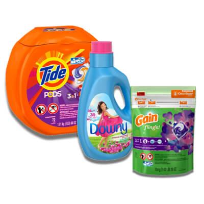 $1.95 Tide Liquid Laundry Detergent (37-40 oz) Pods (12-16 ct) or Gain Liquid Laundry Detergent (40 oz) Flings (12-14 ct) Fabric Enhancer (48 lds) Sheets (105 ct) Powder (30 lds)
