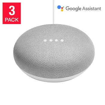 Costco members Google Home Mini Smart Speaker Powered by Google Assistant, Chalk, 3-pack $84.99 + Free shipping