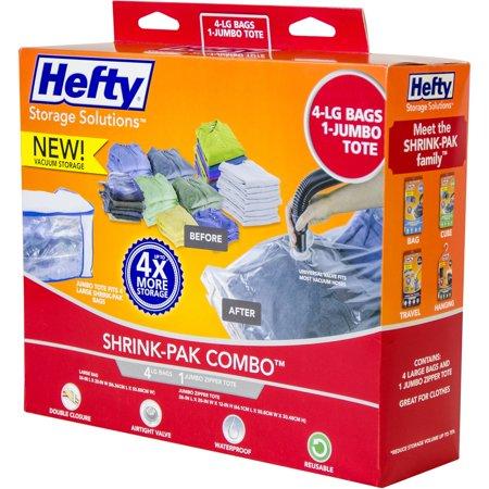 Hefty Shrink Pak Vacuum Seal Bags 4 Large And 1 Jumbo Zipper Tote