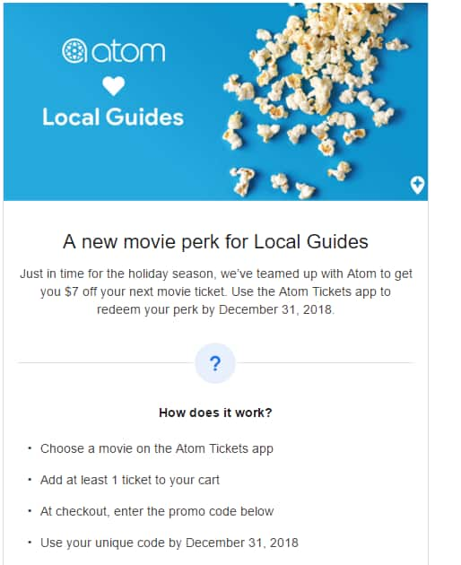 Google local guide $7 off movie ticket code through atom