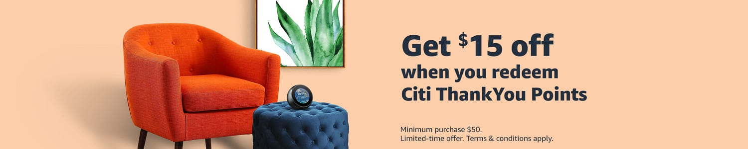 YMMV: Get $15 off when you use Citi ThankYou Points towards an Amazon.com purchase of $50 or more