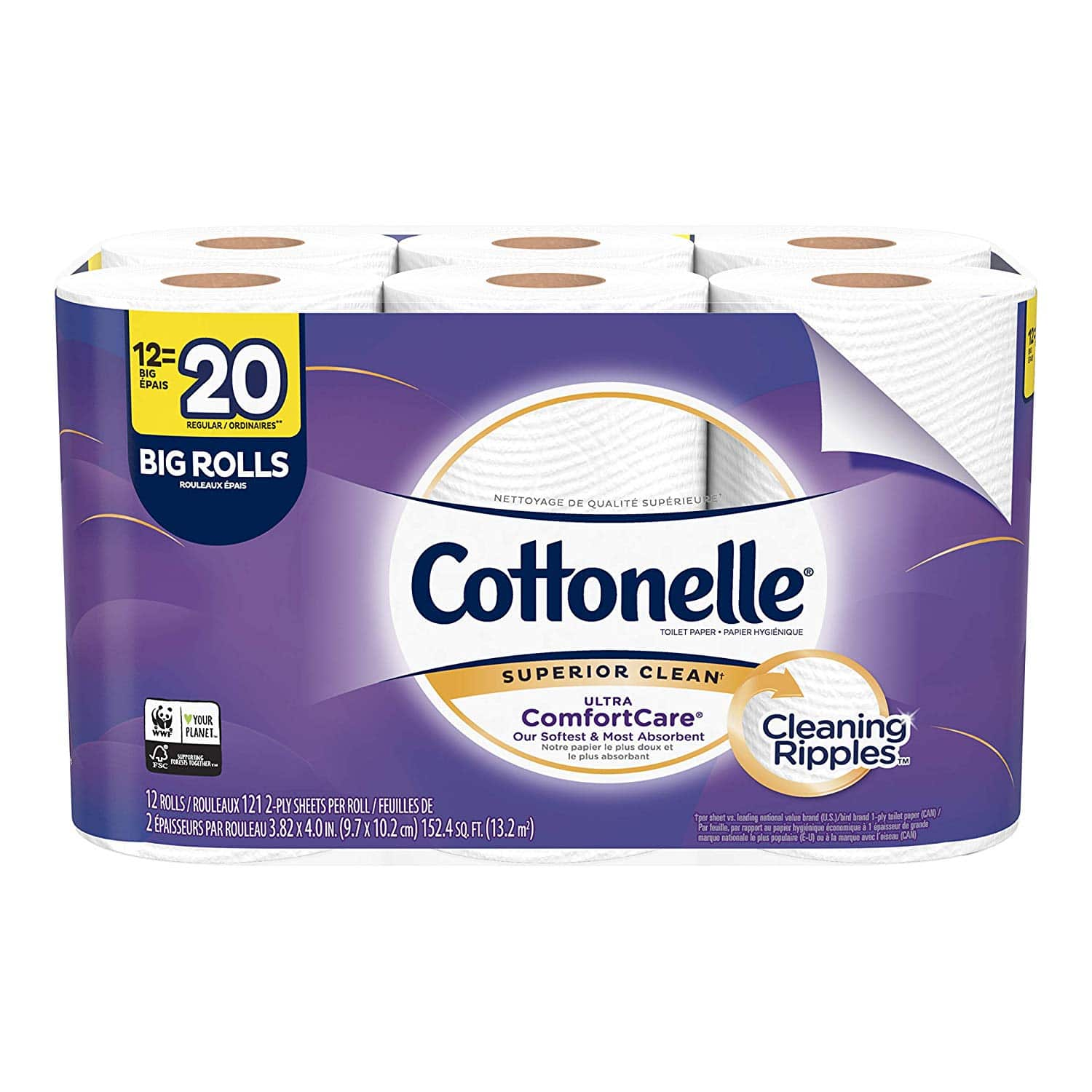 Cottonelle Ultra ComfortCare Toilet Paper, Soft Bath Tissue, Septic-Safe, 12 Big Rolls $6
