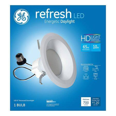 GE Lighting 68579 LED Refresh HD 10-watt -65-watt Replacement, 700-Lumen 6-Inch RS6 Recessed Downlight Kit $7
