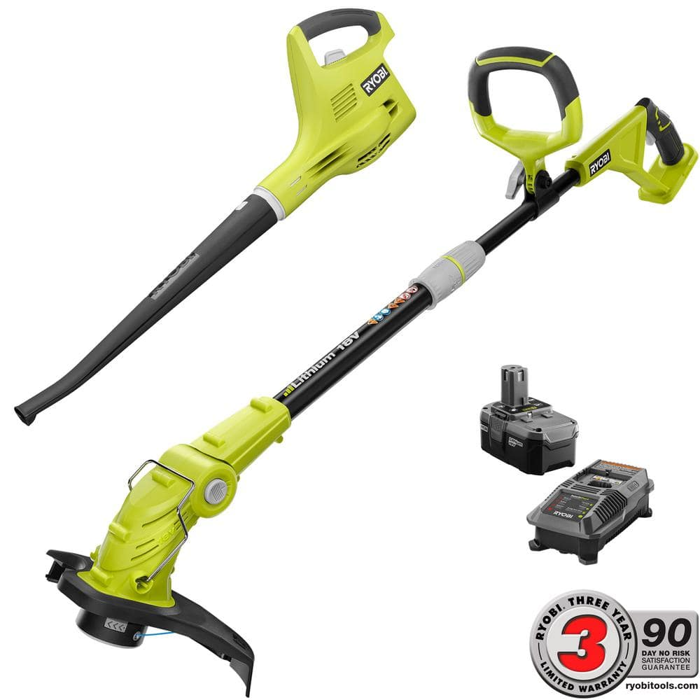 ONE+ 18-Volt Lithium-Ion String Trimmer/Edger and Blower/Sweeper Combo Kit - 2.6 Ah Battery and Charger Included $89