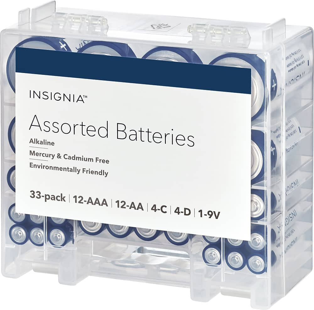 Insignia Assorted Batteries with Storage Box (33-Pack) $8.98