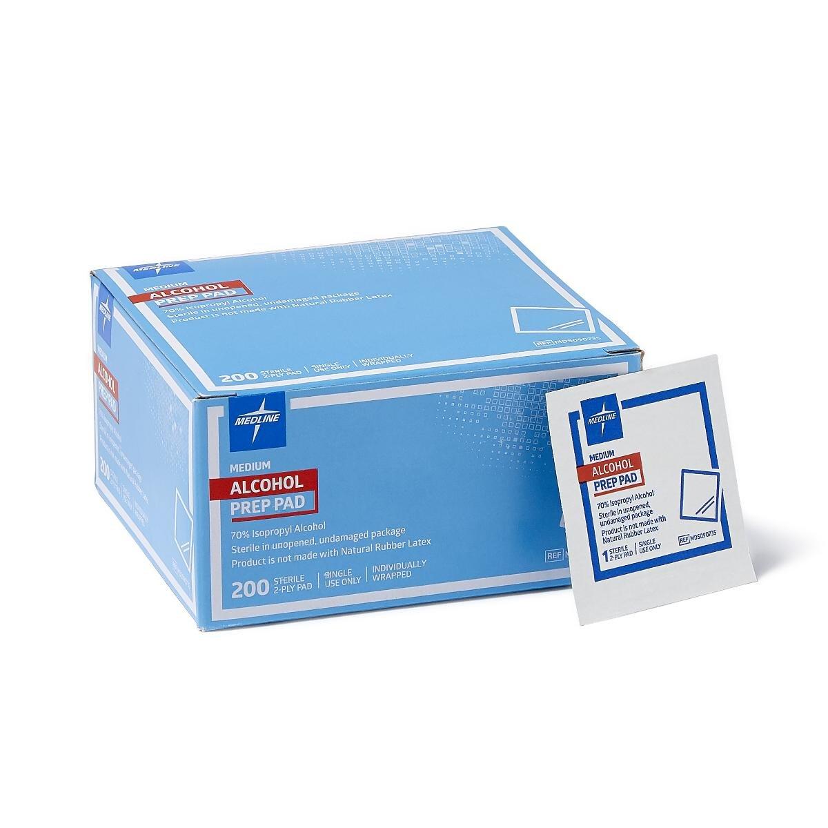 Medline Sterile Medium Prep Pads 70% Isopropyl Alcohol Antiseptic 200 Count $2.58