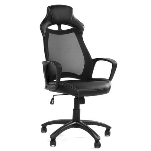 GreenForest Office Desk Chair Computer Executive Swivel Chair with Mesh High Back and PU Leather Seat Base Headrest, Black $70