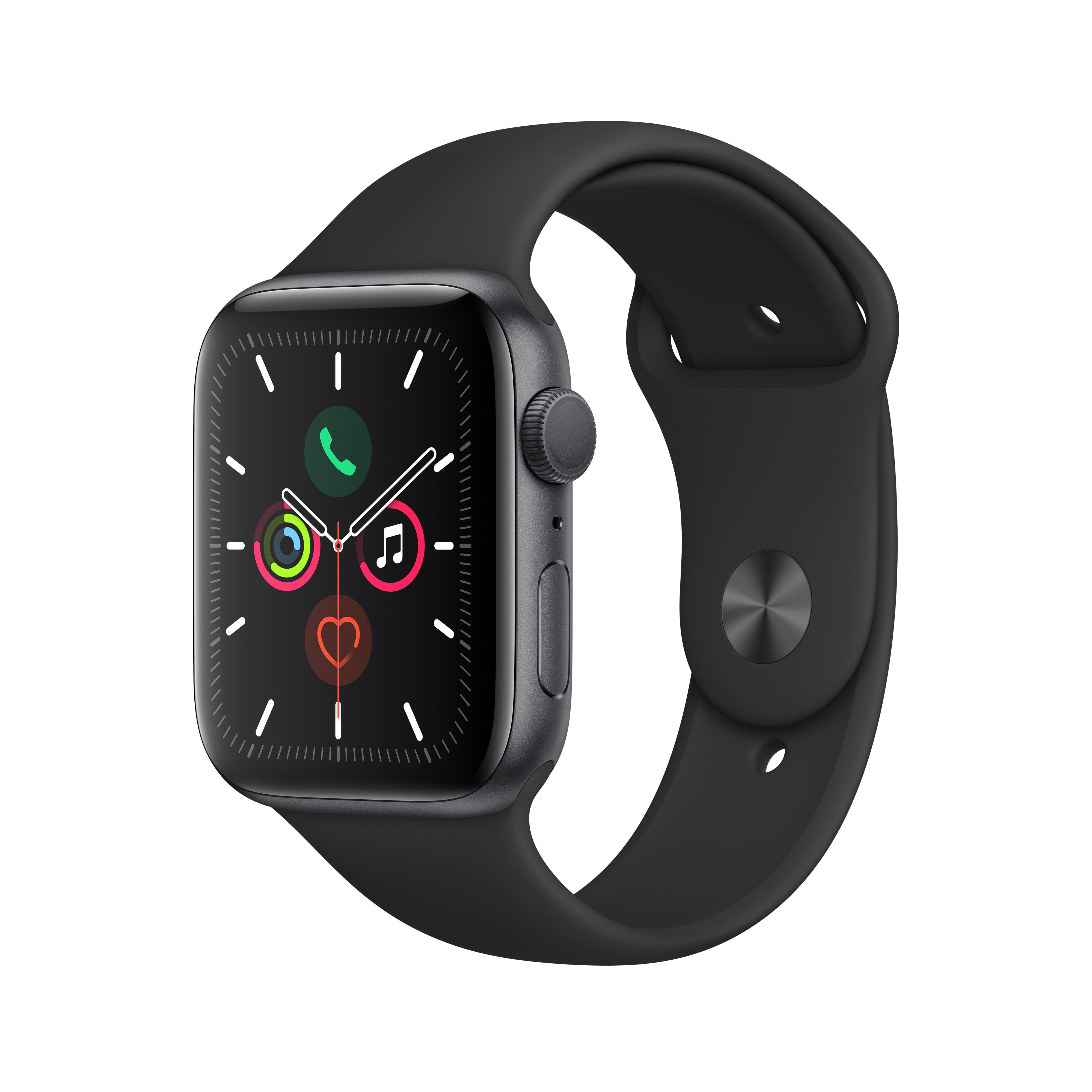 Apple Watch Series 5 GPS, 44mm Space Gray Aluminum Case with Black Sport Band - S/M & M/L $329