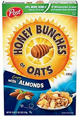 Post Honey Bunches of Oats with Crispy Almonds, Whole Grain, Low Fat Breakfast Cereal 18 oz. Box $2.50