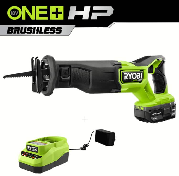 ONE+ HP 18V Brushless Cordless Reciprocating Saw Kit with (1) 4.0 Ah Battery and Charger - $129 (Home Depot)