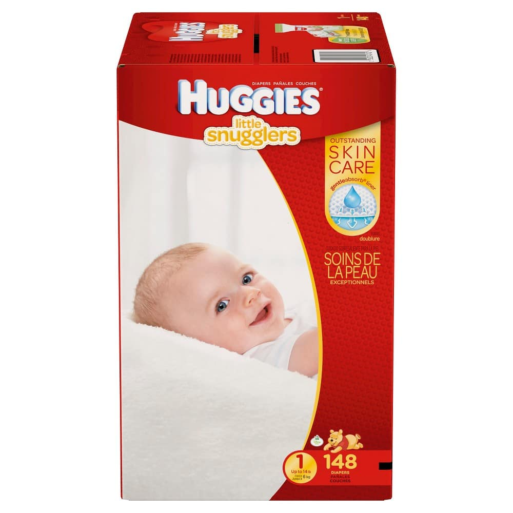 Huggie little snugglers newborn - size 5 and little movers size 3 - size 6 diapers giant packs 2x for $55.18 plus $15 GC