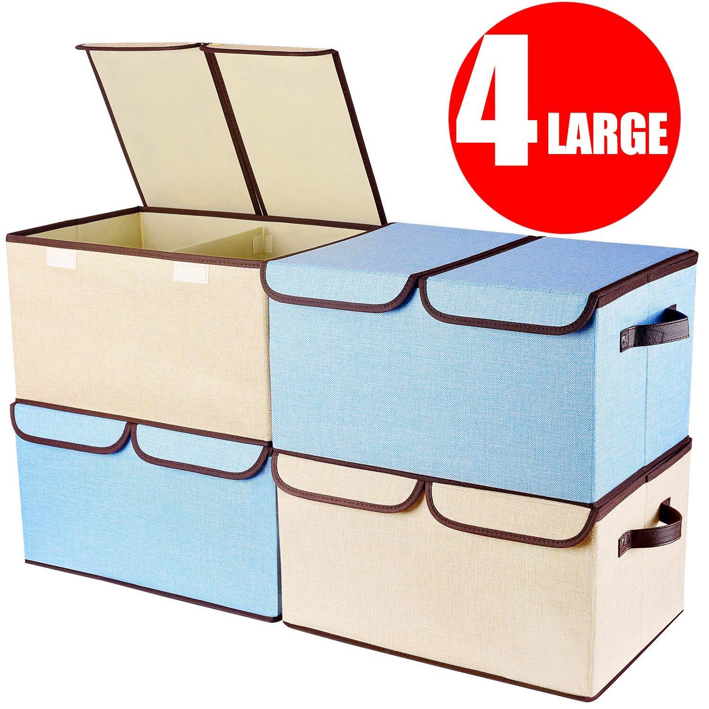 larger foldable collapsible storage bin organizer cubes w lid handles removable divider 4. Black Bedroom Furniture Sets. Home Design Ideas
