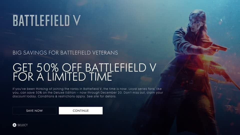 Battlefield V Deluxe Edition 50% for Veteran players $40