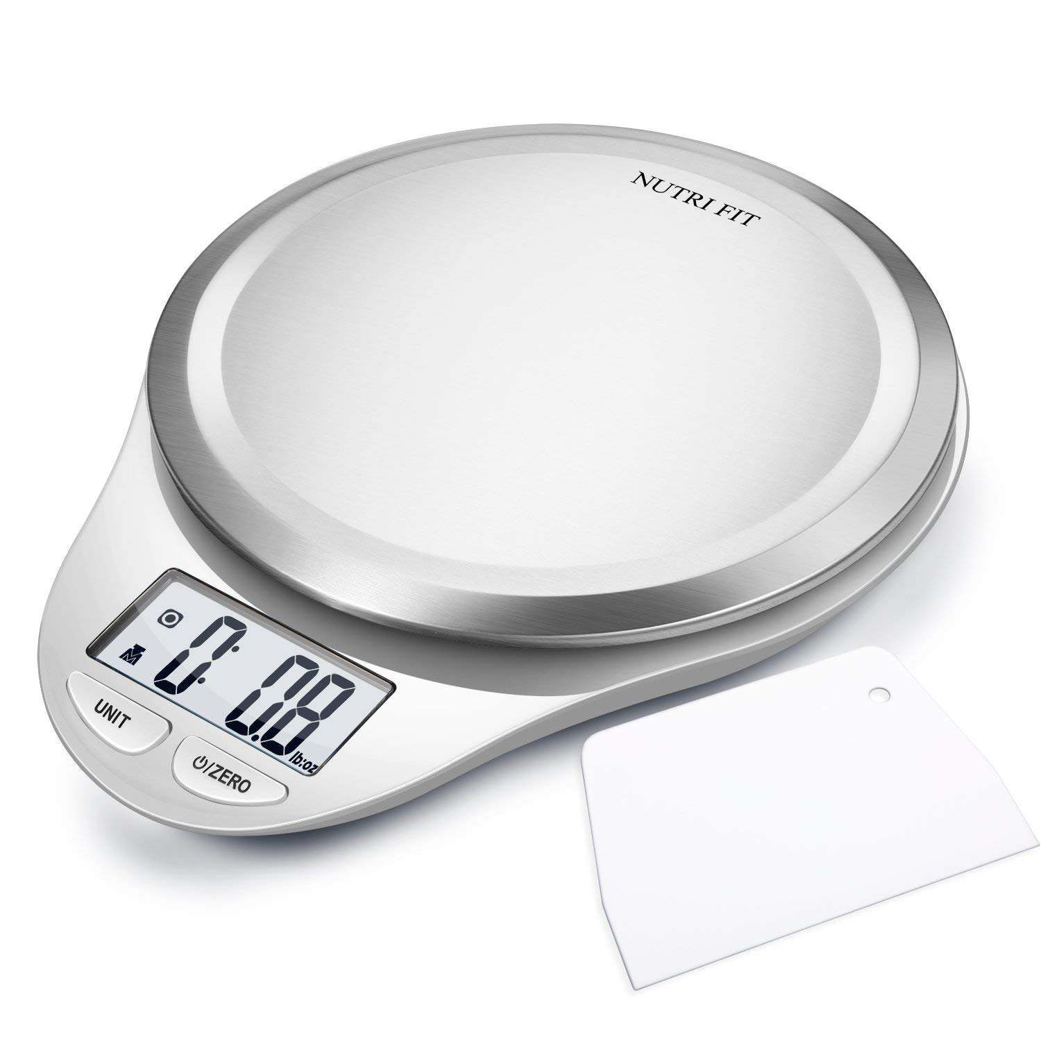 High Accuracy Multi-Function Digital Kitchen Food Scale w/Dough Scraper, Fingerprint Resistant Coating,Tare & Auto Off Function -White- $8.30 @ Amazon