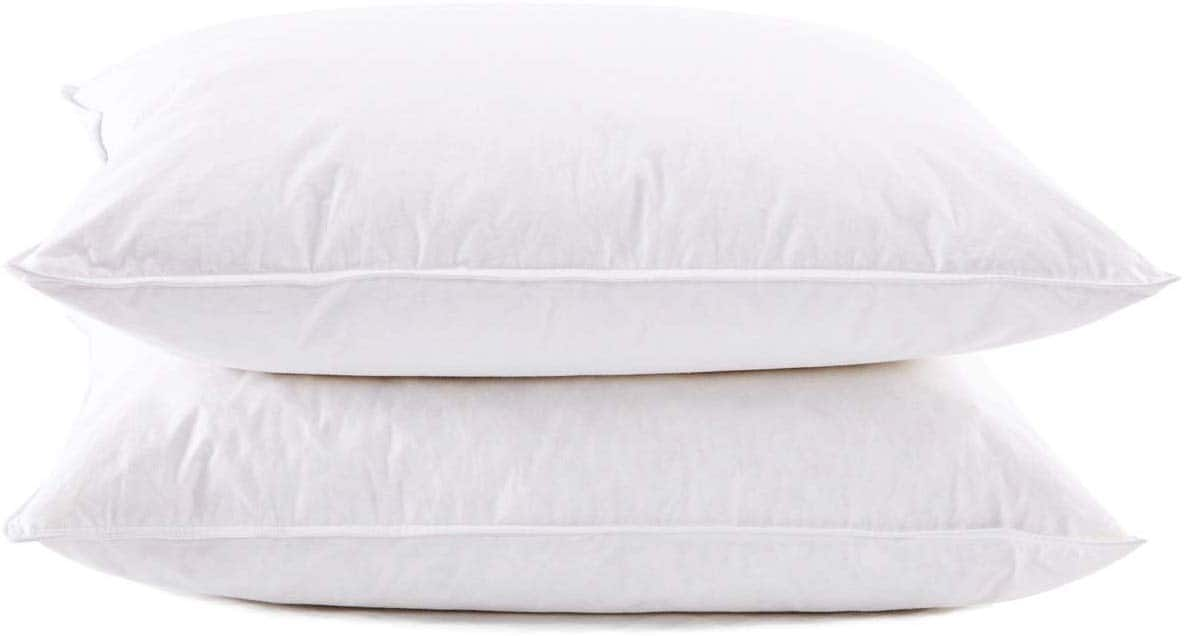 Set of 2 Natural Goose Down Feather White Pillow Inserts 100% Egyptian Cotton Fabric Cover Bed Pillows Standard Size $25.99-$42.89 @ Amazon