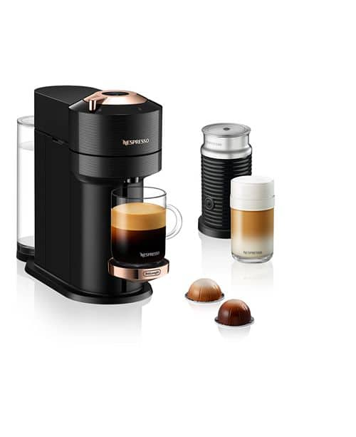 Nespresso Vertuo Next Coffee and Espresso Maker by DeLonghi with Aeroccino Milk Frother, Black Rose Gold $124.99