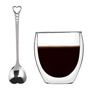 KUWAN Coffee Cup 8.5 Ounce Espresso Mugs Adiabatic Glass with Spoon Heart Shaped $5.95 AC