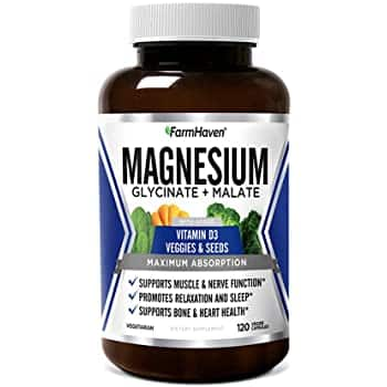 FarmHaven Magnesium, Glycinate + Malate w/ Vitamin D3 for Sleep, Muscle & Leg Cramps etc. $17.49 @ Amazon