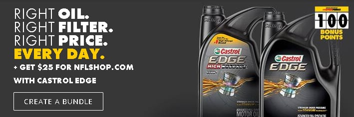 5 Qt Castrol EDGE Full Synthetic + Premium Oil Filter + $25 NFLShop giftcard $33.99