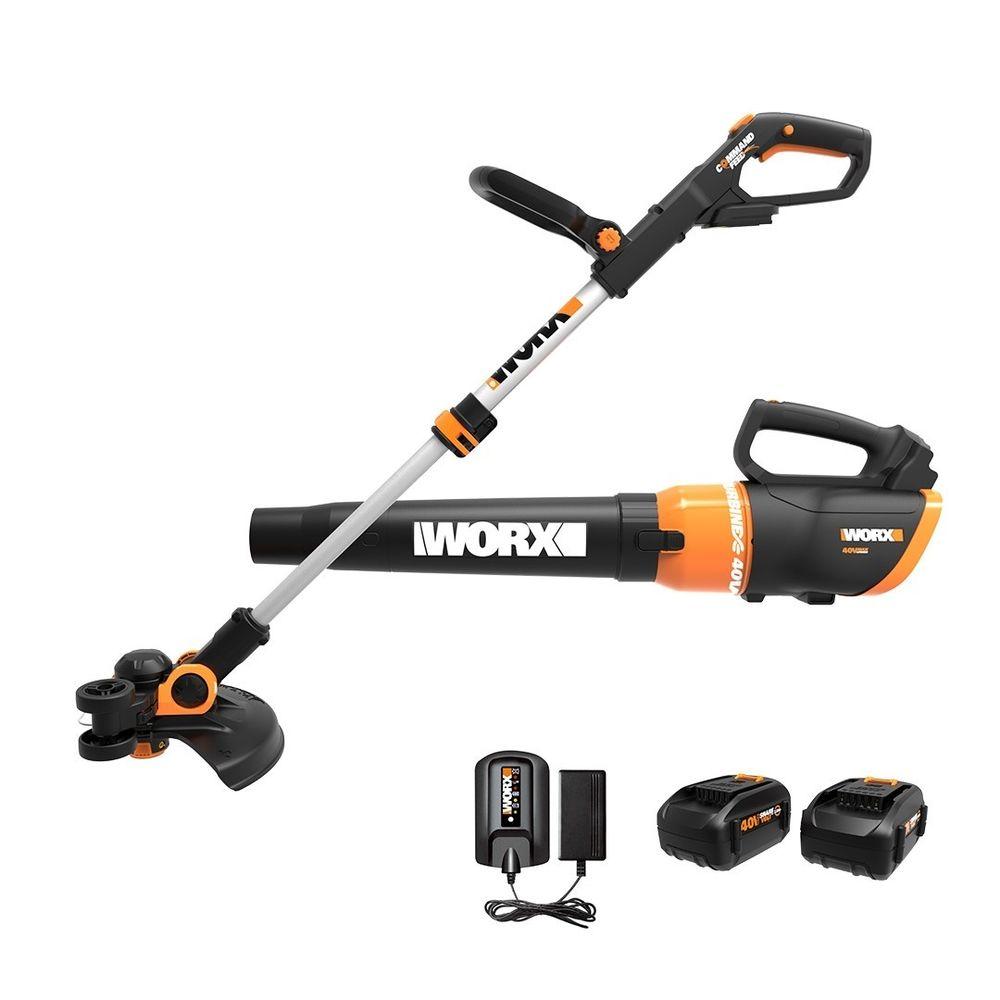 WORX 40V GT 3.0 Trimmer & Turbine Blower Kit w/2 Batteries $99.99