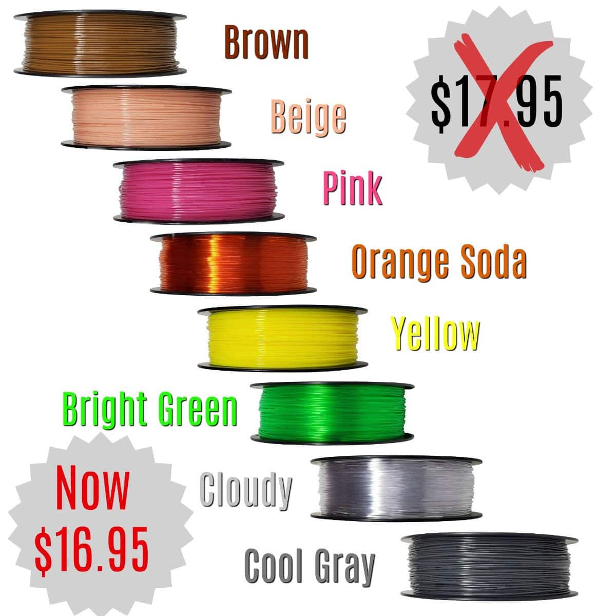 Zyltech PETG 1.75mm Filament sale free shipping $16.95