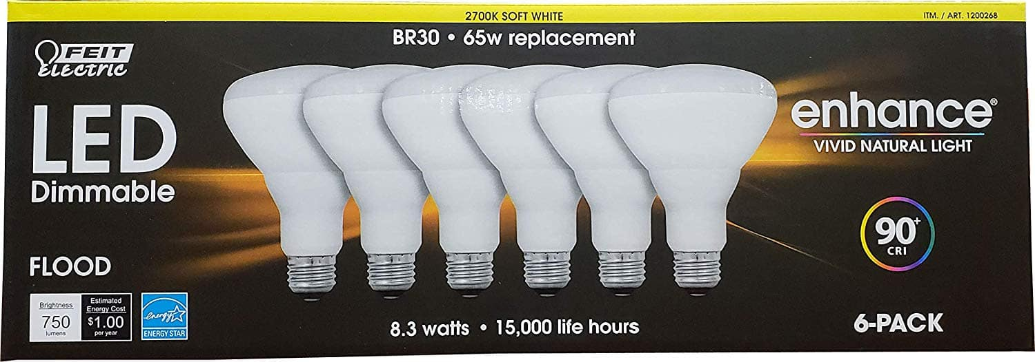 Feit Br30 Dimmable Led Light Bulb 6 Pack Costco Ymmv