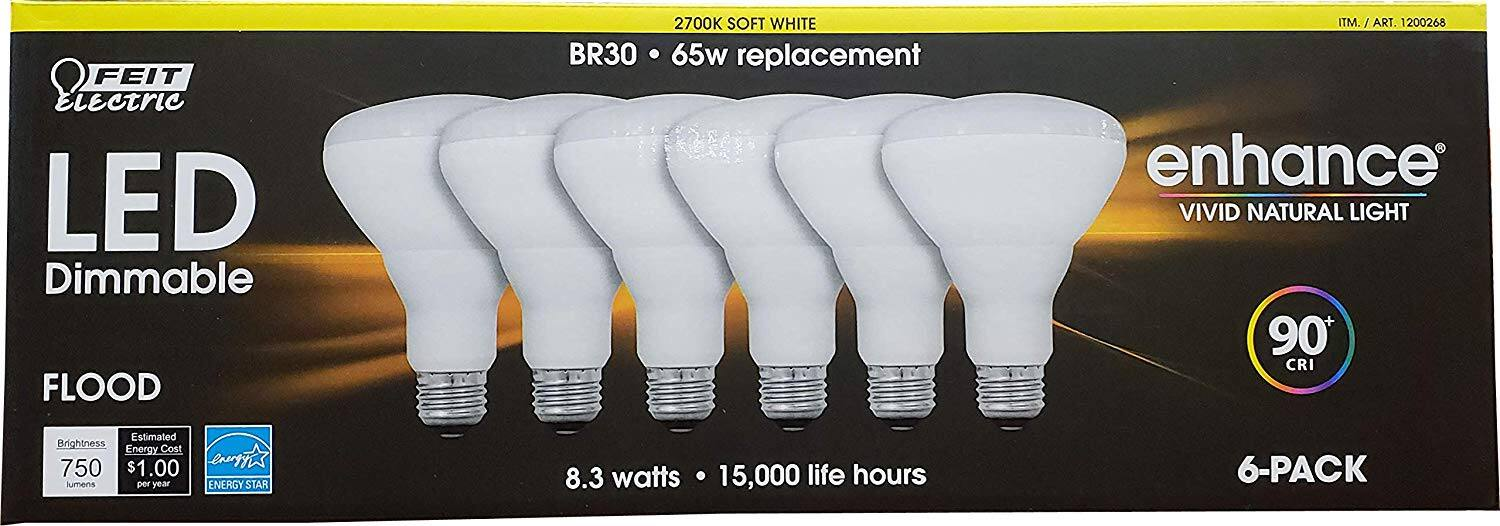 Feit BR30 Dimmable Led Light Bulb 6-Pack. Costco. YMMV.