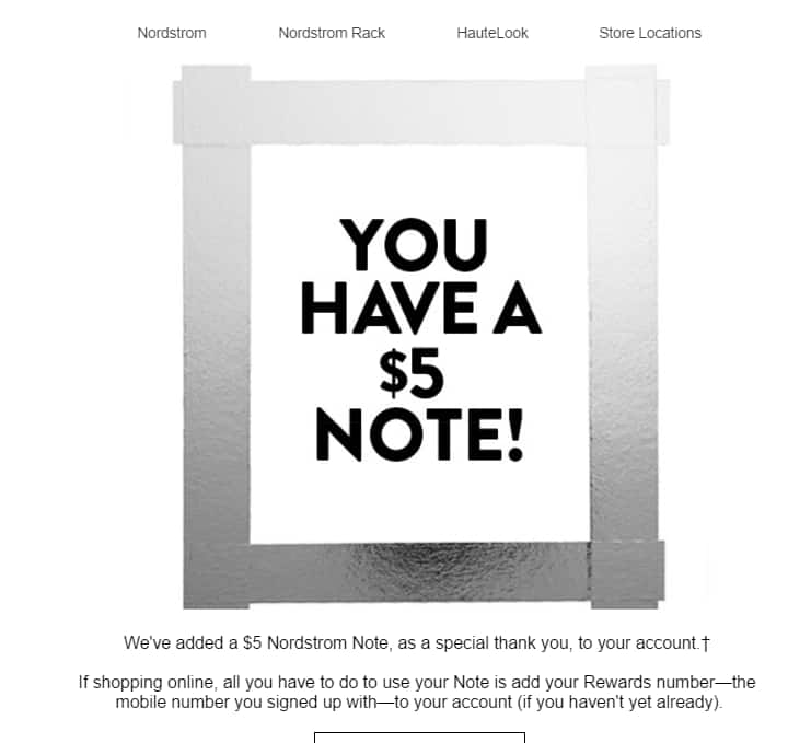Free  5 Nordstrom Note in email ~ YMMV - Slickdeals.net c0f3040e3
