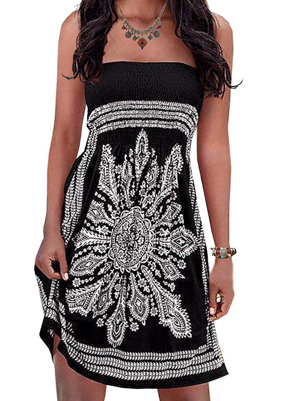 Initial Women's Strapleess Floral Print Bohemian Beach Dress Cover-up Dress $12.59
