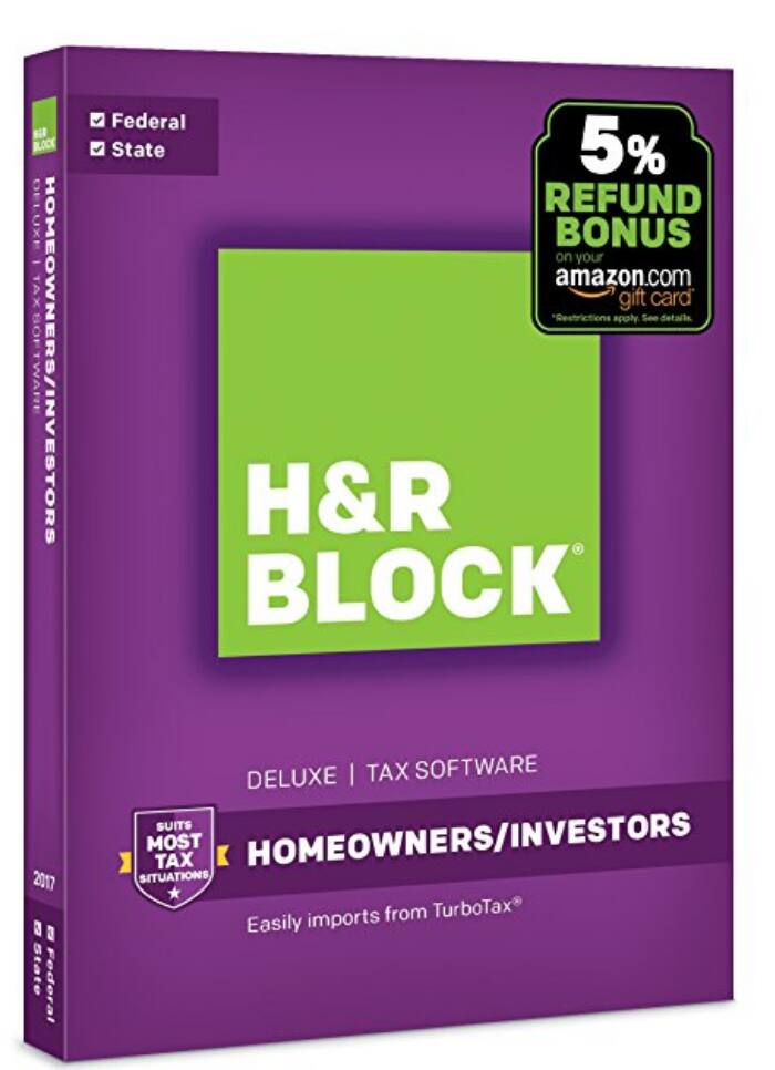 H&R Block Tax Software Deluxe + State 2017 with 5% Refund Bonus Offer only $19.99 @ Amazon
