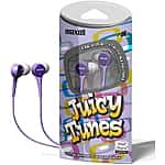 8 Pack: Maxell Juicy Tunes Stereo Earbuds Headphones $12.99 f/s