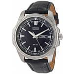 Citizen Mens BM8490-06H Eco-Drive Black Dial Leather Band WR100 Day Date Watch $99.99 Ebay