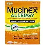 Mucinex Allergy 24 Hour Indoor & Outdoor Allergy Relief 180 mg Tablets; 40 ct $8.99 f/s