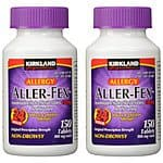 2 Pack: Kirkland Aller-Fex 24 Hour Indoor & Outdoor Allergy Relief 180mg Tablets; 150 ct (Total 300 Tablets) $51.99 f/s