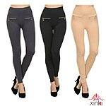 2-Pack: Xinki Fleece Zipper Leggings - Choose your color! $13.99 f/s