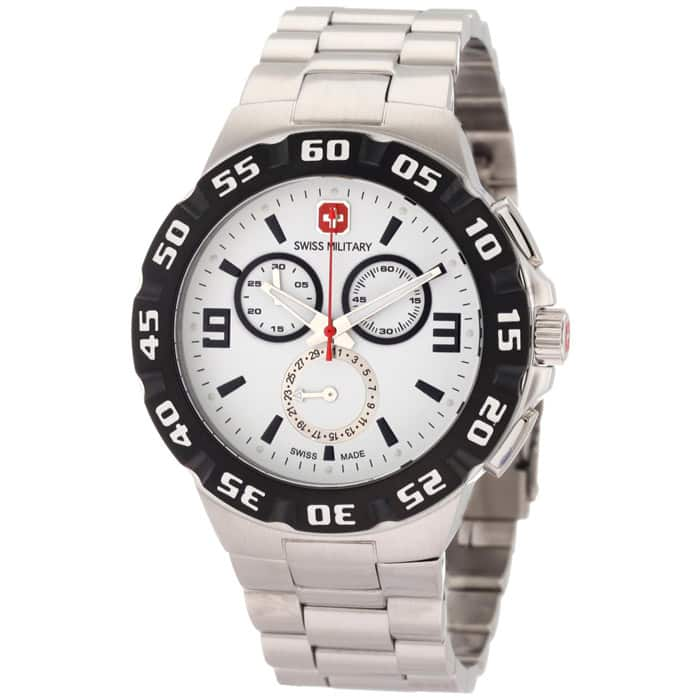 Swiss Military Calibre Men's 06-5R2W Racer Chronograph White Dial Steel Bracelet Watch $104.99 f/s