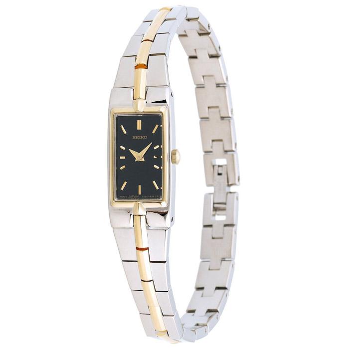 Seiko Womens SZZC42 Dress Two-Tone Black Dial Bracelet Watch $56.99 f/s