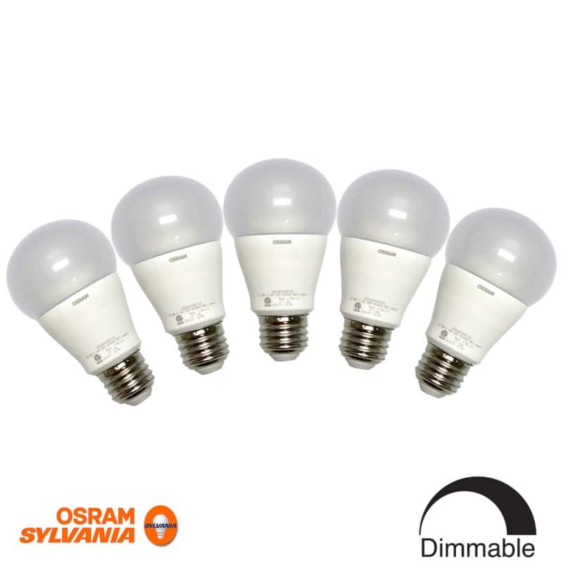5-Pack Osram Sylvania 10-Watt (60W Equivalent) 5000K A19 Medium Base (E-26) Dimmable Daylight Indoor LED Bulb $19.99 f/s