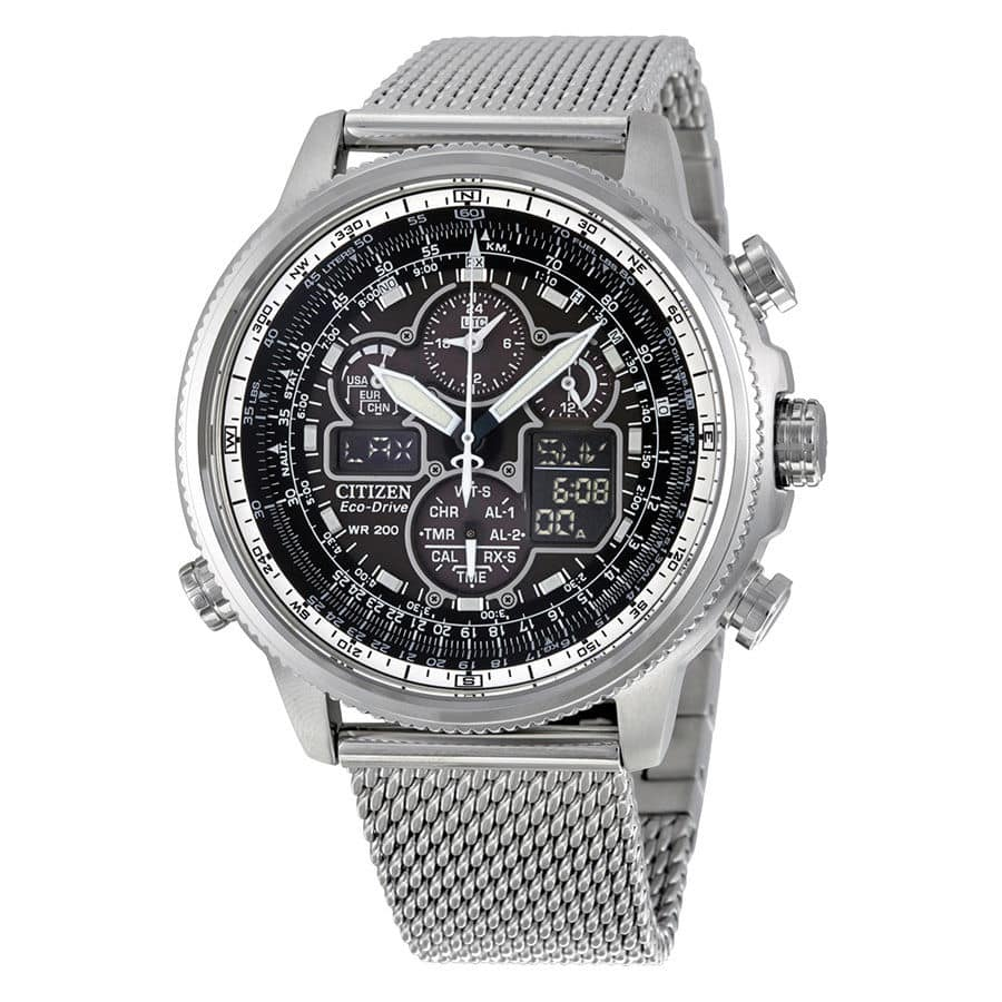 Citizen Navihawk UTC Chrono Black Dial Stainless Steel Mesh Mens Watch  $289.99 Ebay