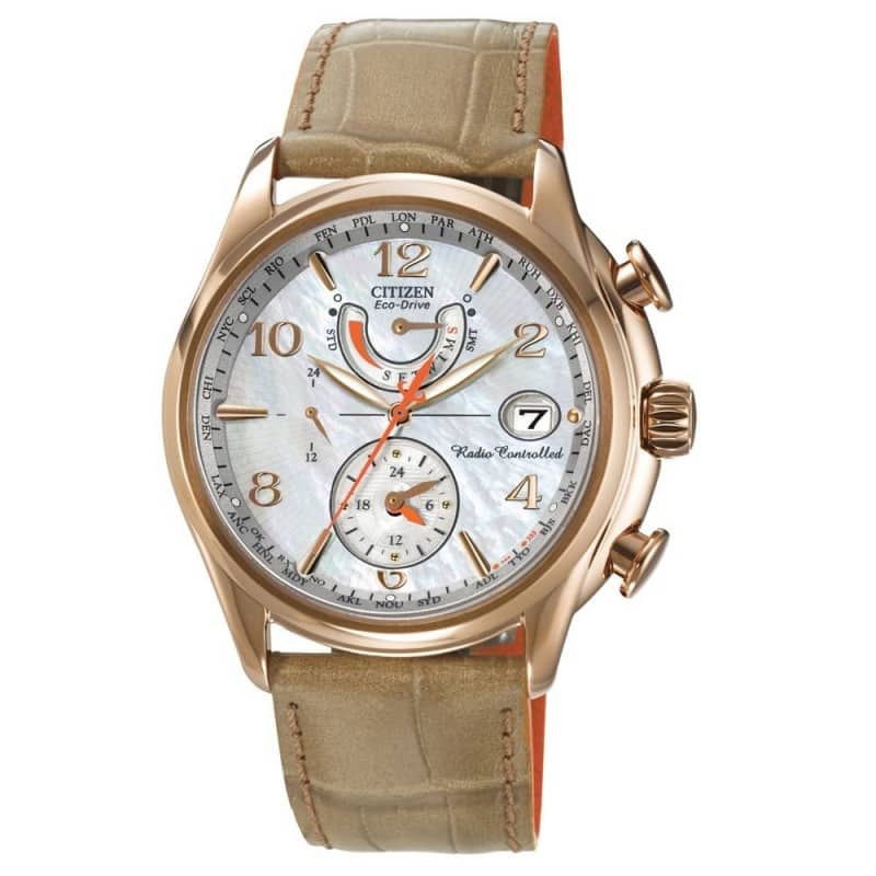Citizen Women's FC0003-18D World Time A-T Eco-Drive Camel Leather Strap Watch $134.99 f/s