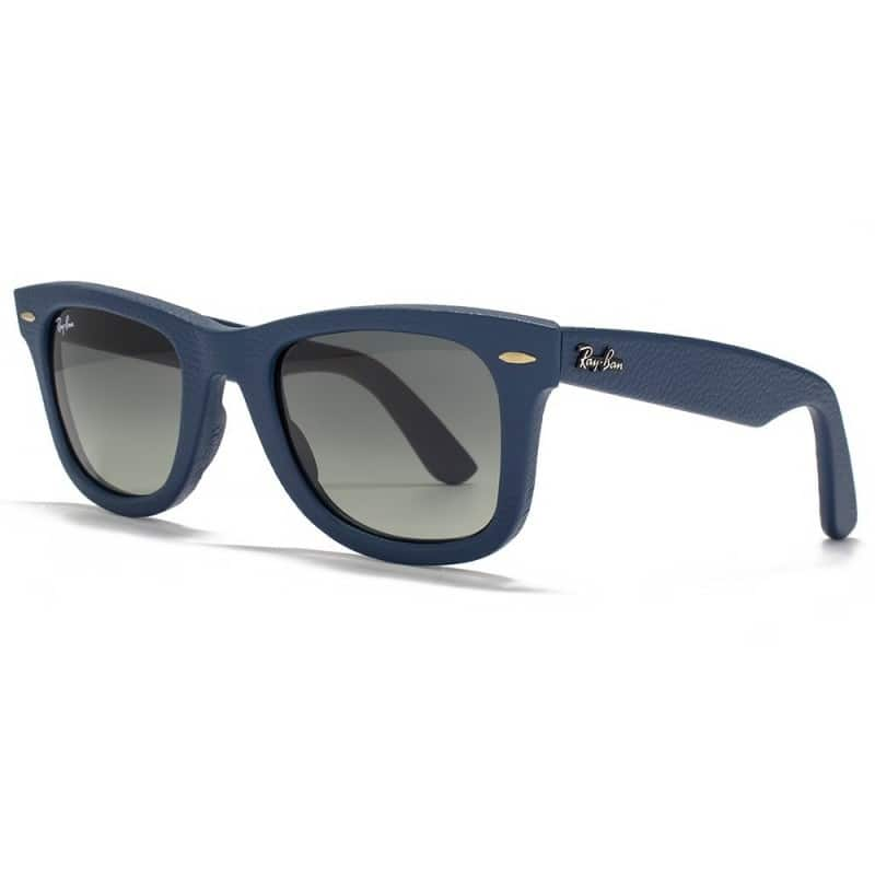 Ray-Ban RB2140QM Original Leather Blue Wayfarer w/ Grey Gradient Lens Unisex Sunglasses $84.99 f/s
