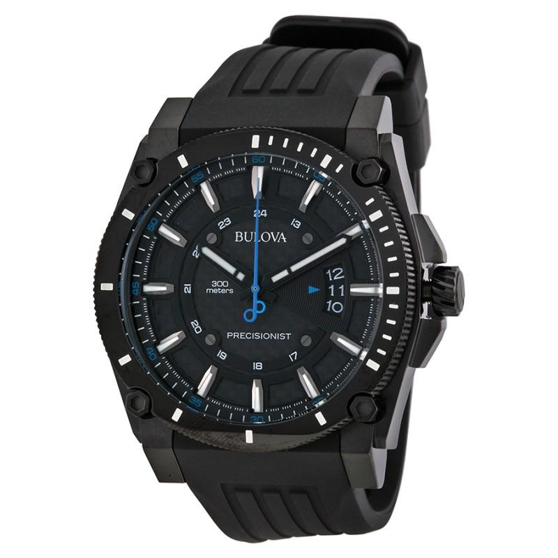 Bulova Precisionist Champlain Black Dial Rubber Strap Men's Watch - 98B142 $139.99 f/s