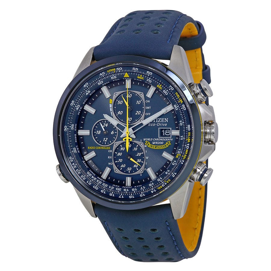 Citizen Eco Drive Blue Angels World Chronograph Leather Mens Watch AT8020-03L $259.99 Ebay
